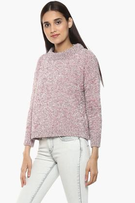 Womens Round Neck Shimmer Sweater