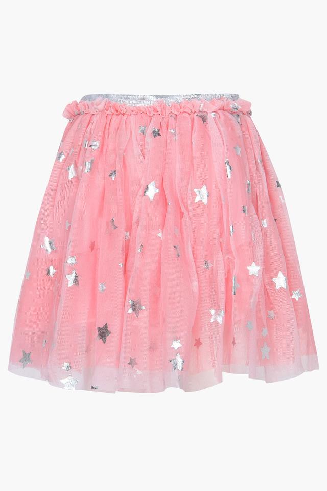 Girls Round Neck Embellished Top and Skirt Set