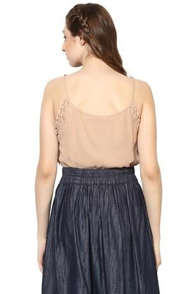 Womens Spaghetti Neck Solid Top