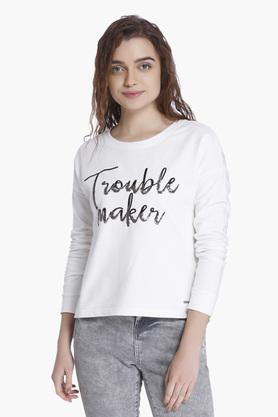 VERO MODA Womens Round Neck Embellished Sweatshirt