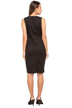 Womens V Neck Solid Knee Length Dress