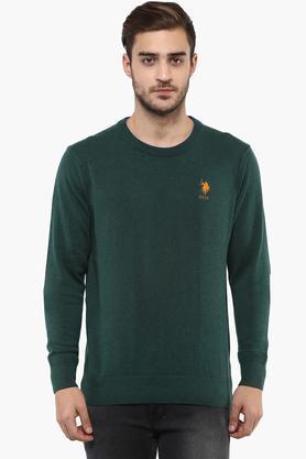 U.S. POLO ASSN.Mens Round Neck Slub Sweater