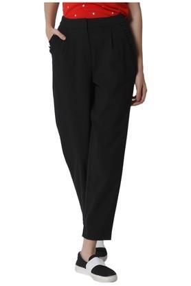 Womens Regular Fit Solid Pants