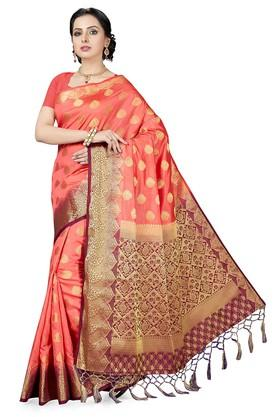 ISHINWomens Gold Woven Saree With Blouse Piece - 204668418_9502