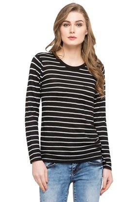 STOP Womens Round Neck Stripe Sweater - 203744493
