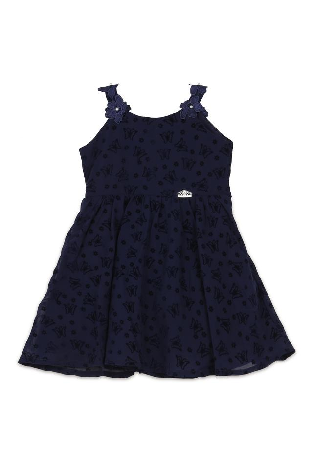 Girls Strappy Neck Embroidered Flared Dress