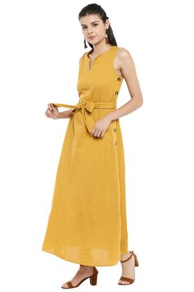 Womens Notched Collar Solid Maxi Dress