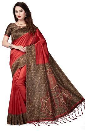 ISHINWomens Printed Saree With Blouse Piece