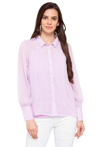 Womens Collared Self Printed Shirt