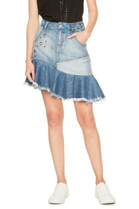 DESIGUAL Womens Washed Casual Skirt