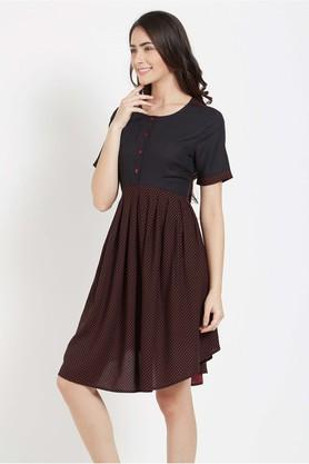 Womens Round Neck Dotted Short Dress