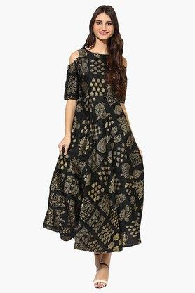 JUNIPER Womens Gold Printed Cold Shoulder Kurta