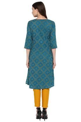 Womens Bandhani Print Embroidered A-Line Kurta with Pant