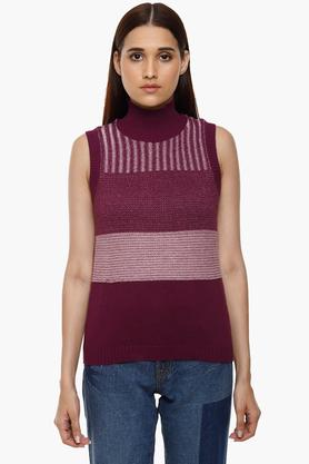MONTE CARLOWomens High Neck Knitted Pattern Pullover