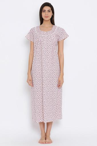 Womens U Neck Floral Print Night Gown