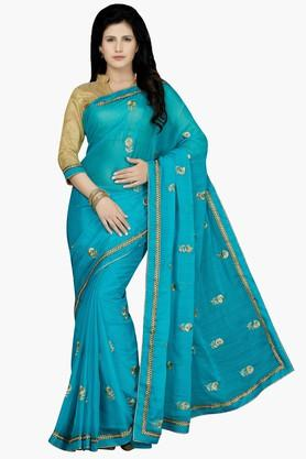 DEMARCA Womens Faux Chiffon Embroidered Saree - 203228957