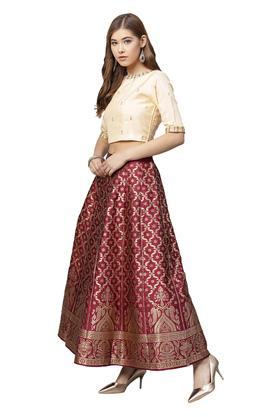 Womens Round Neck Printed Lehenga Choli Set