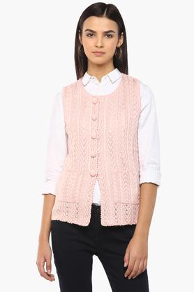APSLEYWomens Round Neck Solid Knitted Cardigan