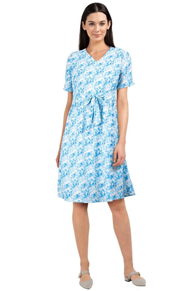 Womens V Neck Printed Shift Dress