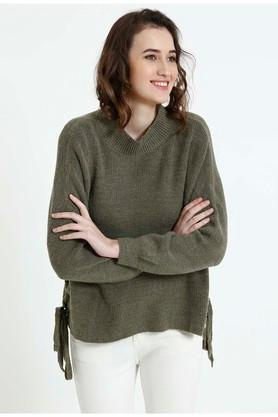 COVER STORY Womens High Neck Solid Sweater