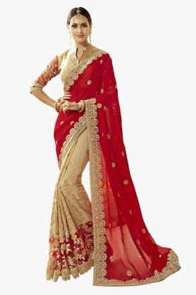 DEMARCA Womens Faux Georgette Net Embroidered Saree