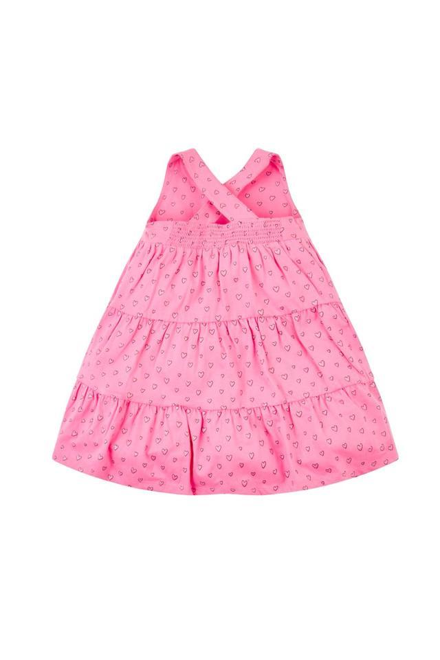 Girls Round Neck Printed Dress