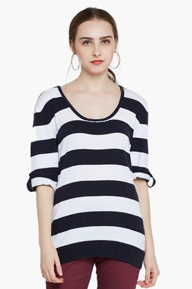 RARE Womens Round Neck Striped Sweater