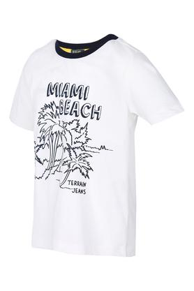 Boys Round Neck Solid Tee with Markers