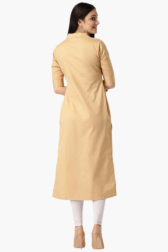 Womens Cotton Solid Straight Kurta with Pocket