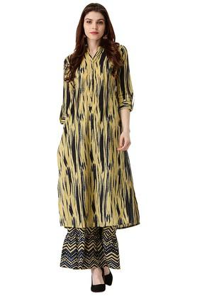 LIBAS Womens Printed Straight Kurta With Palazzo Pants - 203976723_9111
