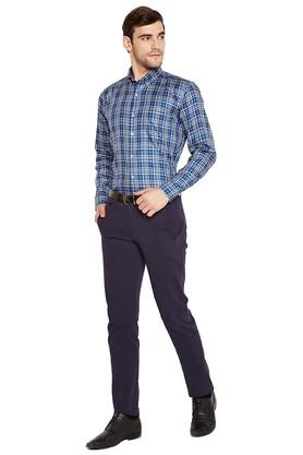Mens Slim Fit Button Down Collar Checked Formal Shirt