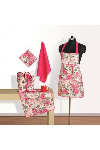 Printed Apron with Pot Holder Oven Mitts and Napkins Combo