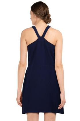 Womens Round Neck Solid Zipped Short Dress