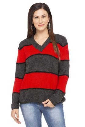 Womens V Neck Stripe Pullover