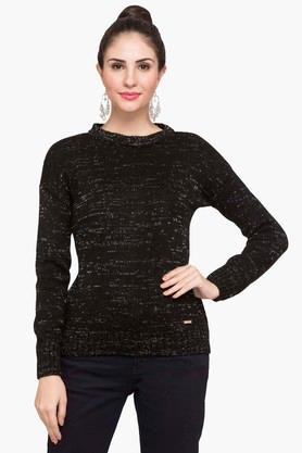 FEMINA FLAUNT Womens Round Neck Printed Sweater