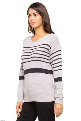 Womens V Neck Striped Sweater