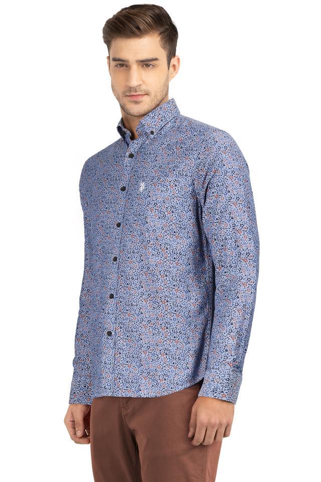 Mens Button Down Collar Floral Print Shirt