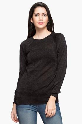 RS BY ROCKY STAR Womens Round Neck Shimmer Sweater