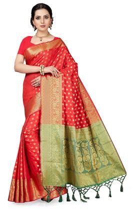 ISHINWomens Gold Woven Saree With Blouse Piece - 204668440_8310