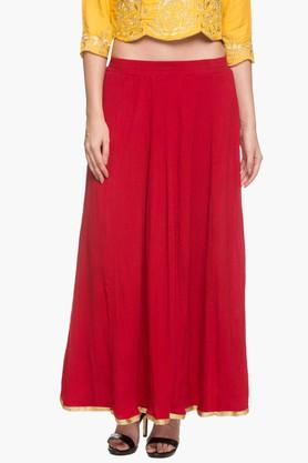 Womens Solid Flared Long Skirt