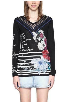 DESIGUALWomens V- Neck Floral Print Pullover - 203850088_9212