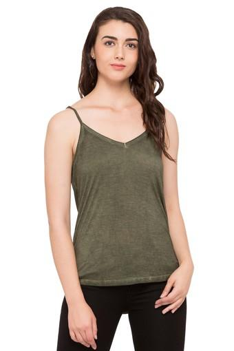 Womens Spaghetti Neck Slub Top