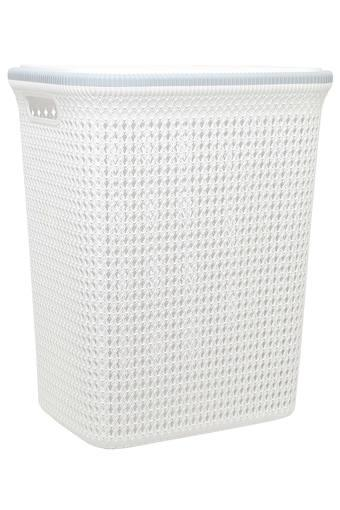 Rectangular Solid Textured Laundry Basket with Lid