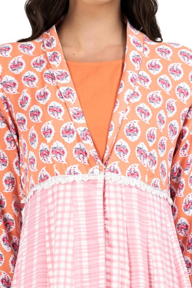 Womens Round Neck Printed Layered Kurta and Churidar Set