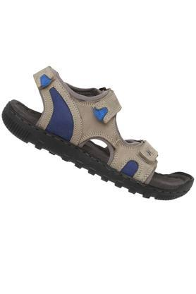 Mens Leather Velcro Closure Sandals