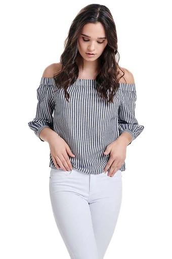 Womens Off Shoulder Neck Striped Top