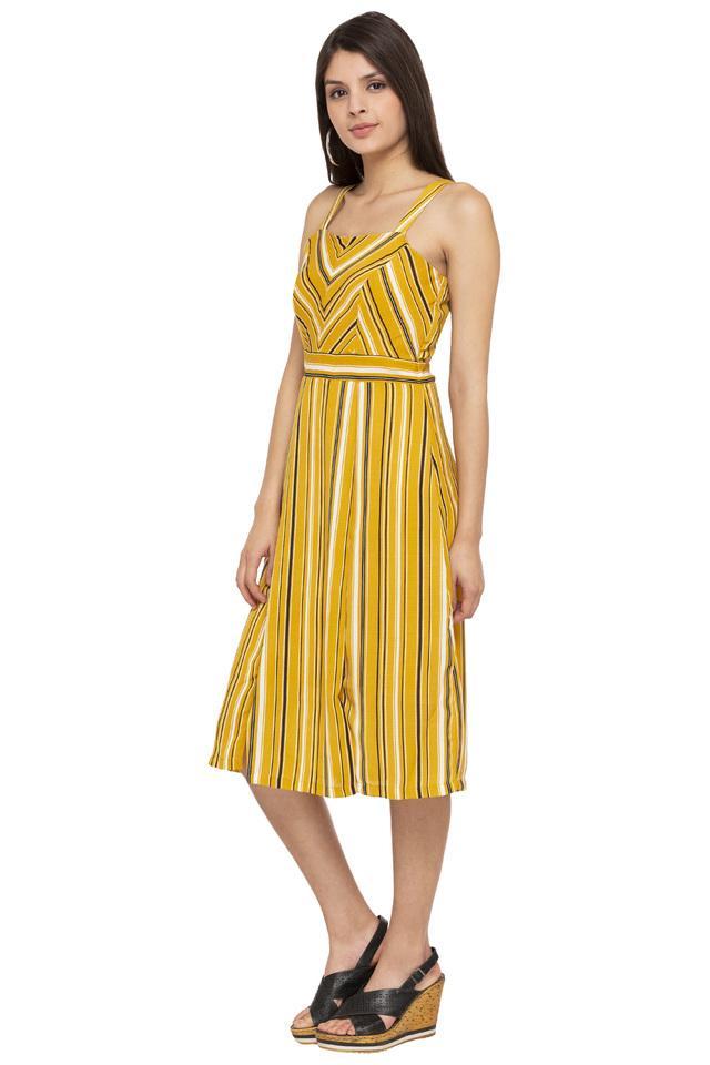 Womens Square Neck Striped A-Line Dress