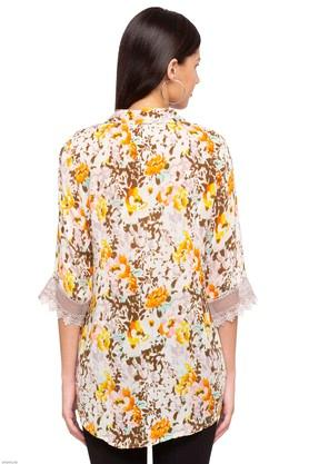 Womens Mandarin Neck Floral Print Kurti