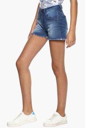 Womens 5 Pocket Stone Wash Shorts
