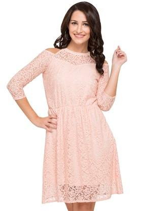 Womens Cold Shoulder Sleeves A-Line Dress